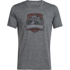 Icebreaker Tech Lite Everest Crest SS Crewe Shirt Herre Gritstone Heather